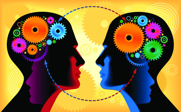 Two heads with gears in the brain facing each other in a yellow background